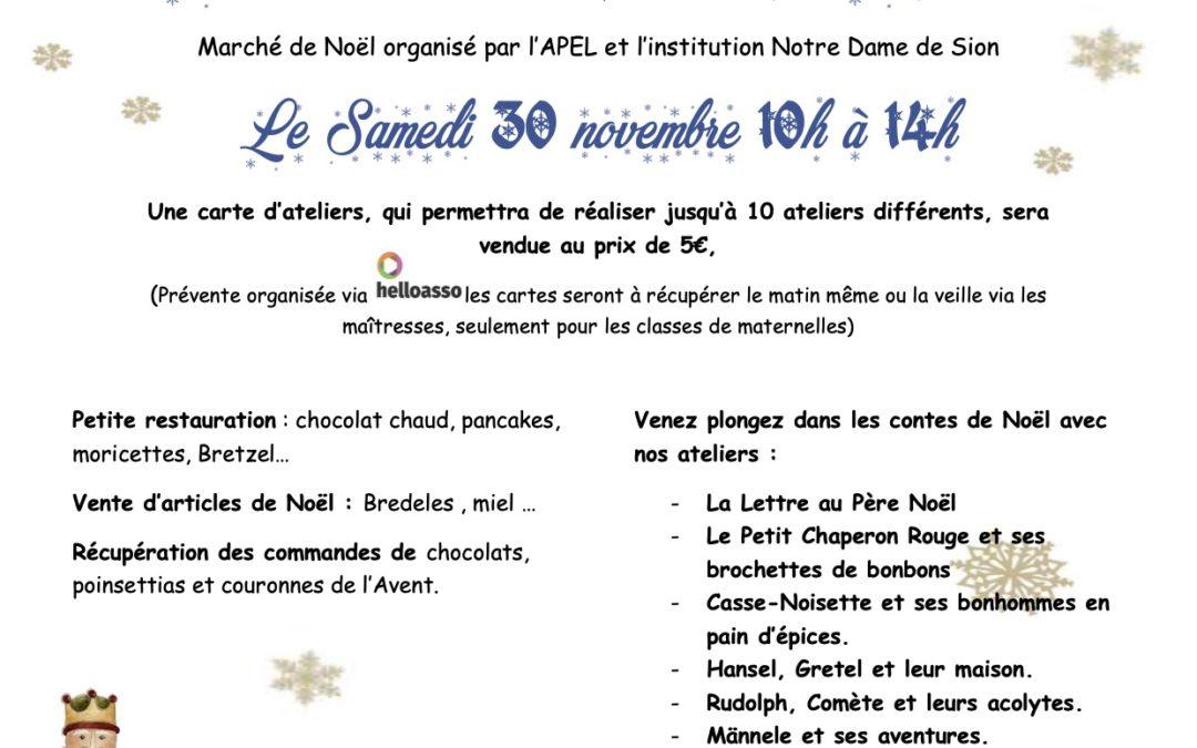 Marché de Noël organisé par l'APEL et l'institution Notre-Dame de Sion