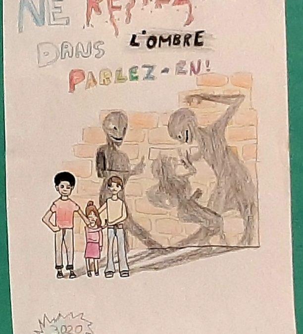 Affiche gagnante au concours «non au harcèlement», classe de 6e Apie.