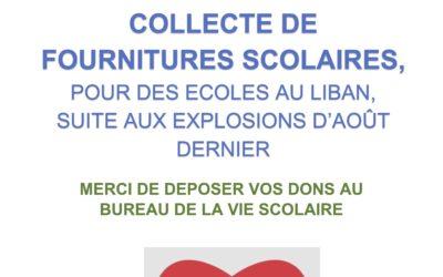 Action solidarité : collecte de fourniture scolaire pour le Liban